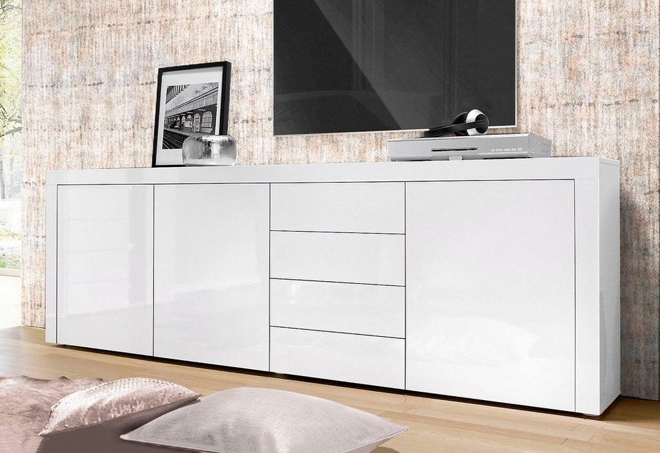 sideboard wei hochglanz 100 cm kommode glossy sideboard anrichte schrank in wei hochglanz cm. Black Bedroom Furniture Sets. Home Design Ideas