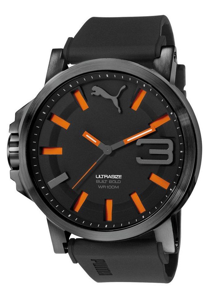 PUMA Quarzuhr »PUMA 10391 ULTRASIE 50 BOLD - Black Orange, PU103911001« in schwarz