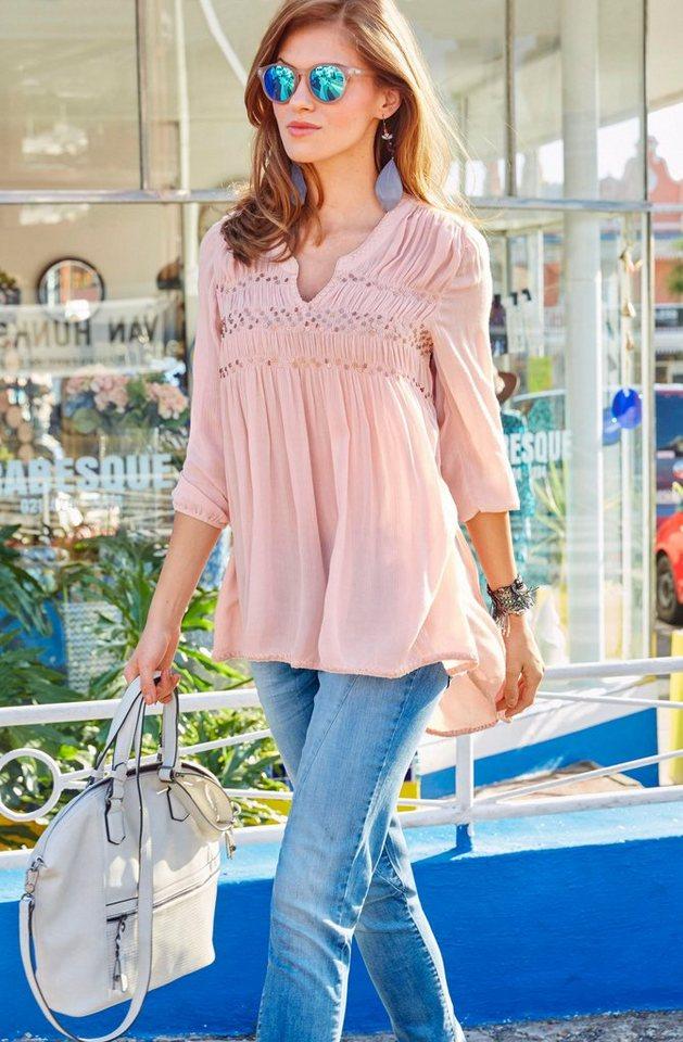 Aniston Longbluse mit Paillettenverzierung in rosé
