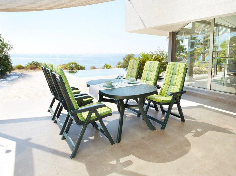 Gartenmöbelset »Kansas«, 6 Sessel, Tisch 145x95 cm, Kunststoff, grün in grün