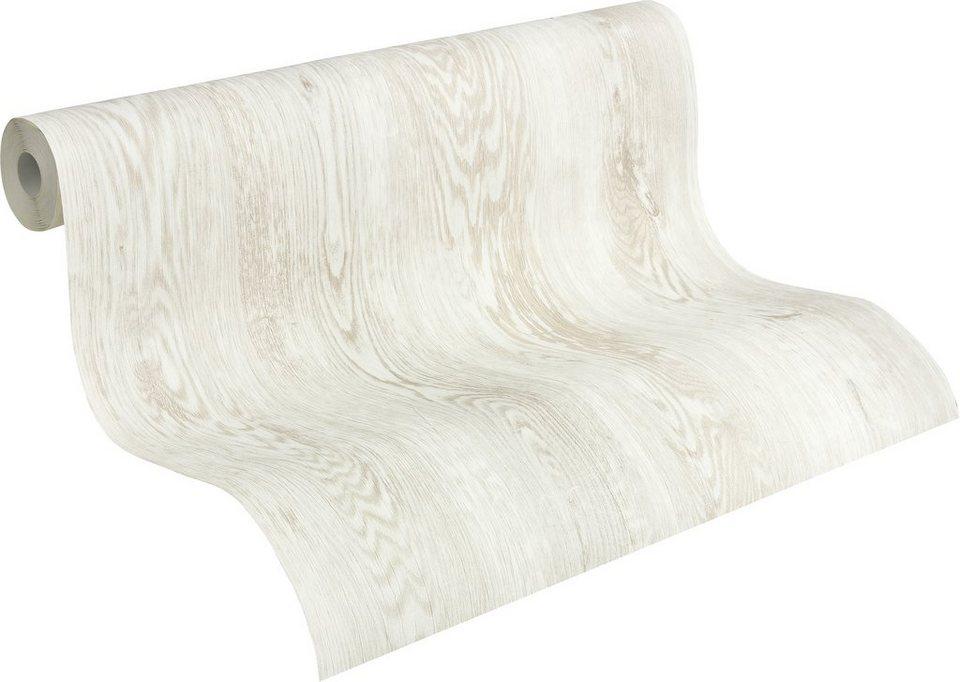 Vliestapete, Livingwalls, »Mustertapete Decoworld in Holzoptik« in creme, weiß