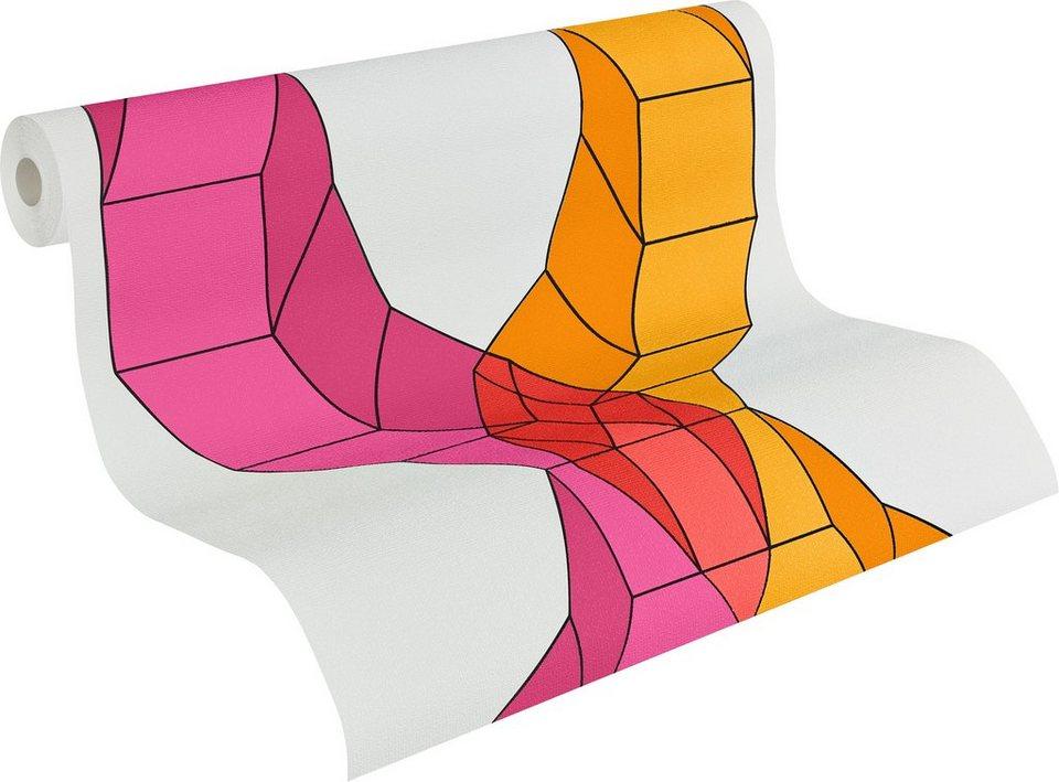 Vliestapete, Lars contzen, »Mustertapete Flowing Grids« in weiß, rot, orange, violett