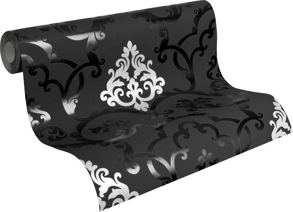 Vliestapete, Livingwalls, »neobarocke Mustertapete Flock« in schwarz, silberfarben, metallic