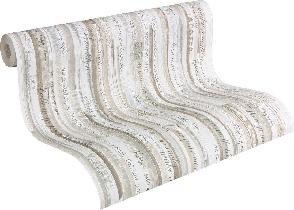 Papiertapete, Livingwalls, »romantische Mustertapete Djooz im Landhausstil« in weiß, braun, grau, blau