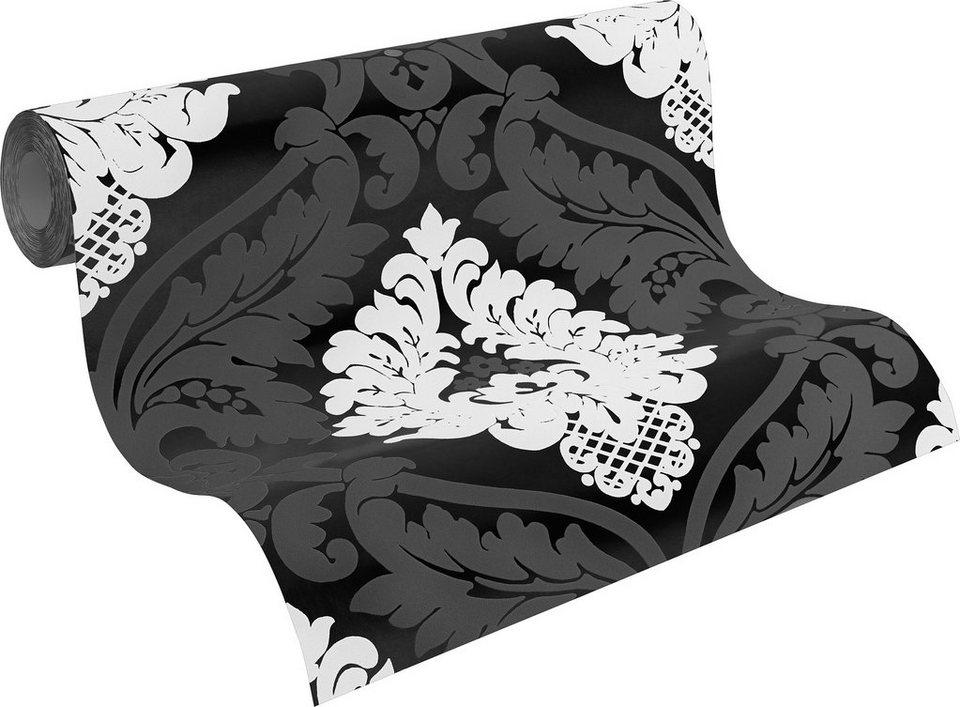 Vliestapete, Livingwalls, »neobarocke Mustertapete Flock« in schwarz, weiß, metallic