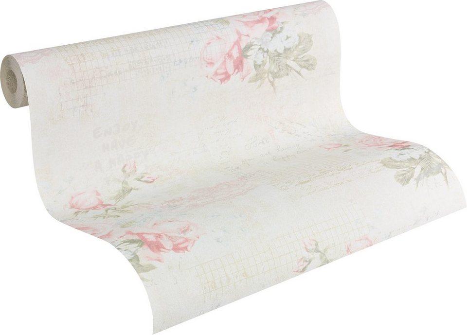 Papiertapete, Livingwalls, »romantische Mustertapete Djooz im Landhausstil« in weiß, creme, rosa, grün