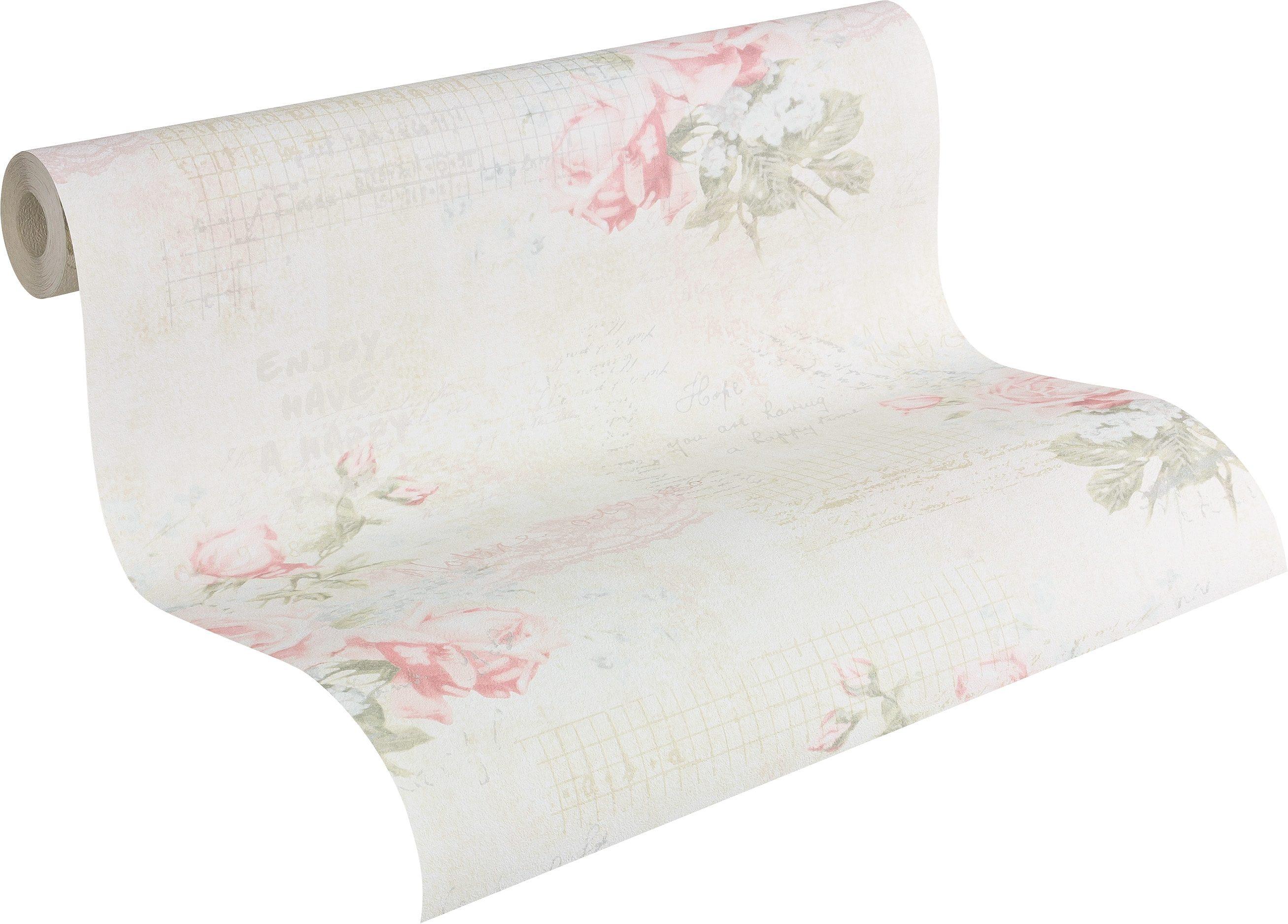 Papiertapete, Livingwalls, »romantische Mustertapete Djooz im Landhausstil«, Blumen