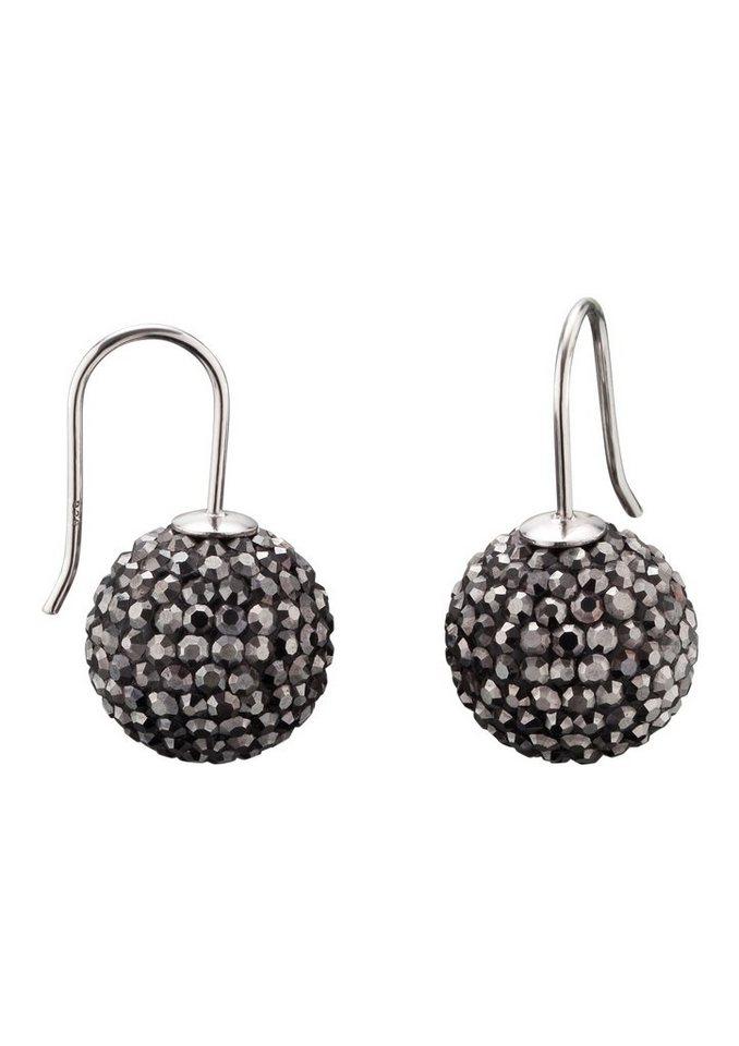 Paar Ohrhaken, »Crystal Ball grau, ERE-17-ZI«, Engelsrufer in Silber 925/grau
