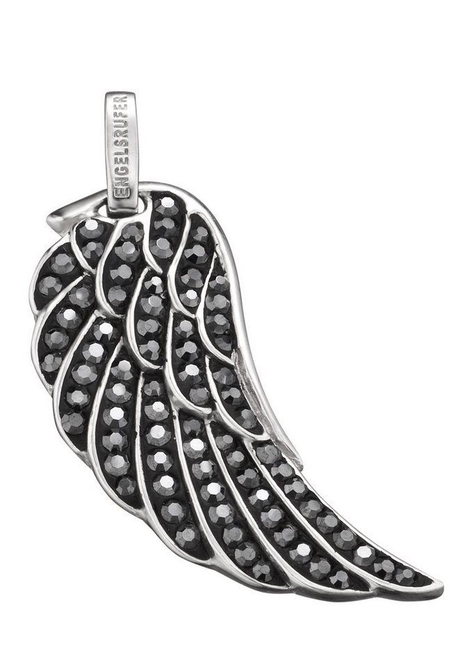 Engelsrufer Halsschmuck: Anhänger ohne Kette »Flügel Crystal grau, ERW-L3-17-ZI« in Silber 925/grau