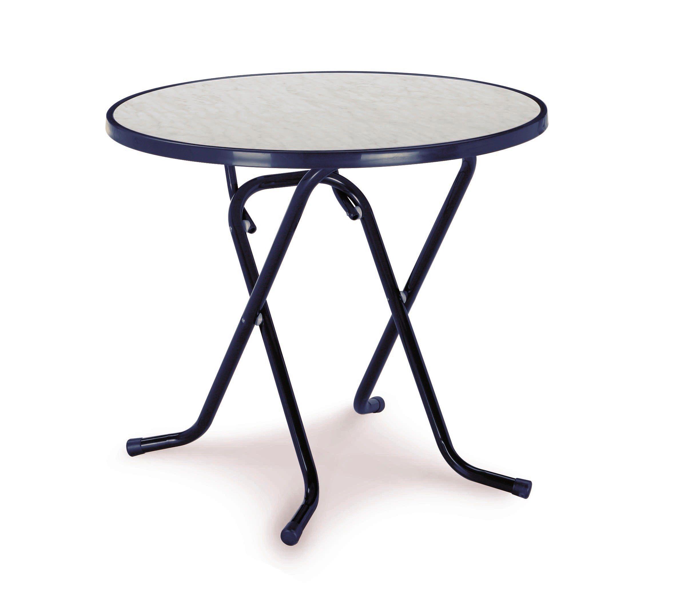 BEST Gartentisch »Primo«, Stahl/Kunststoff, klappbar, Ø 80 cm, blau