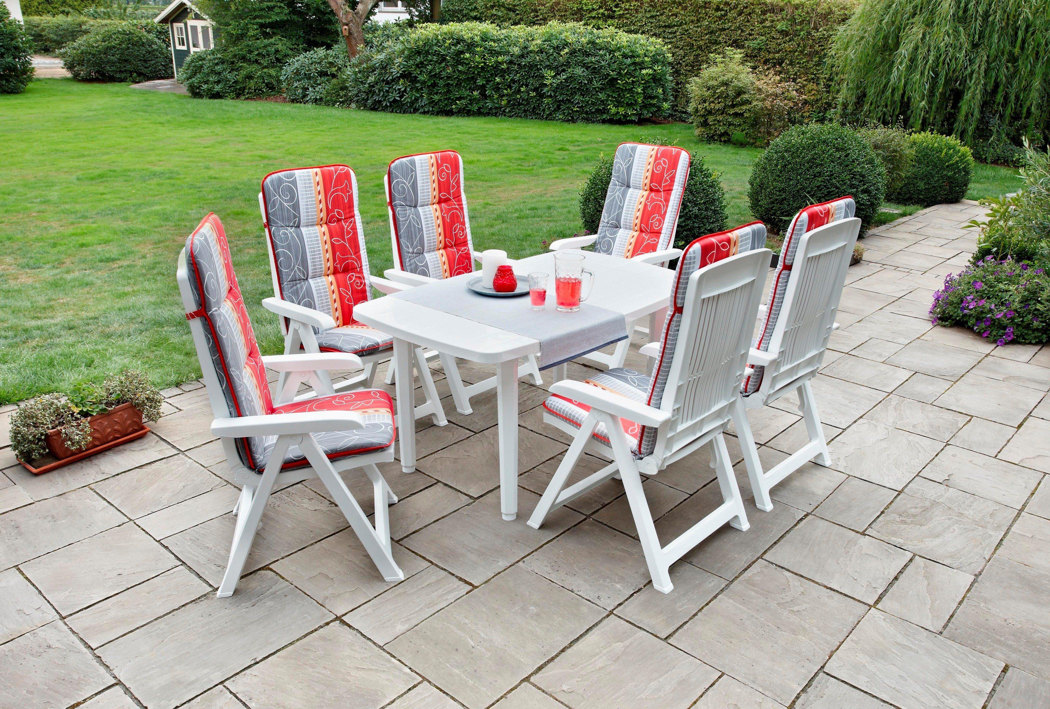 Best 13-tgl. Gartenmöbelset »Kopenhagen«,6 Sessel,Tisch 140x85 cm,Kunststoff,weiß,inkl. Auflagen,klappbar