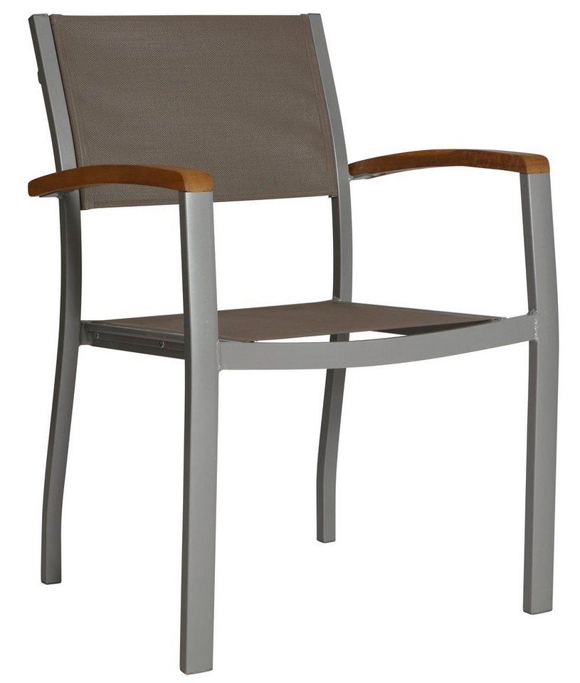 Gartenstuhl »Monaco«, Aluminium/Textil/Akazie, stapelbar, grau ...