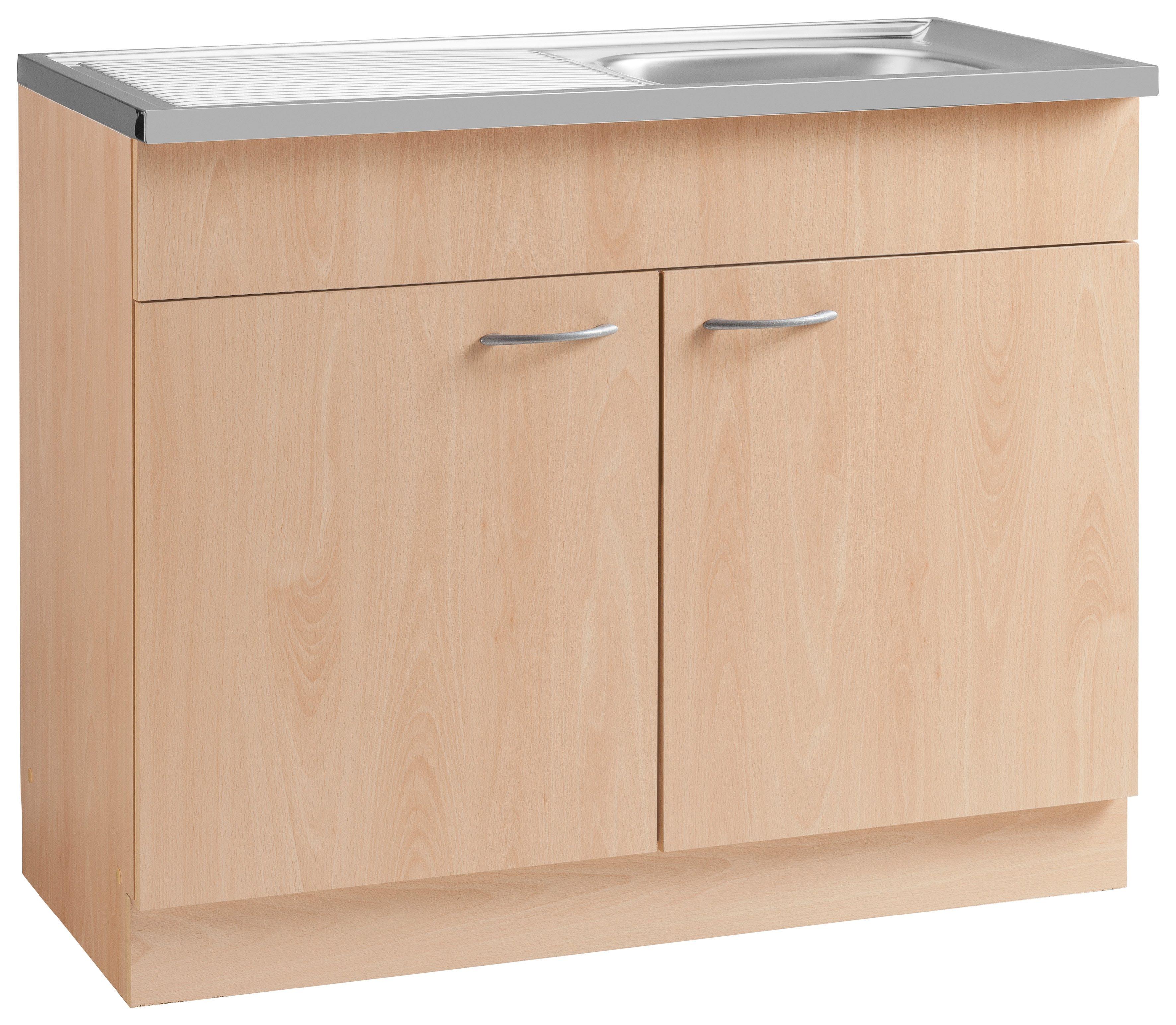 Spülenschrank »Kiel« | Küche und Esszimmer > Küchenschränke > Spülenschränke | Weiß - Hellgrau | Buche - Melamin | wiho Küchen