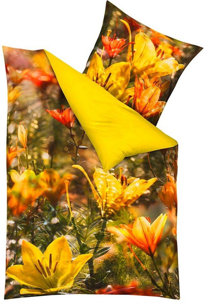 Bettwäsche, Kaeppel, »Fleur-de-lis«, mit Blütendruck in gelb
