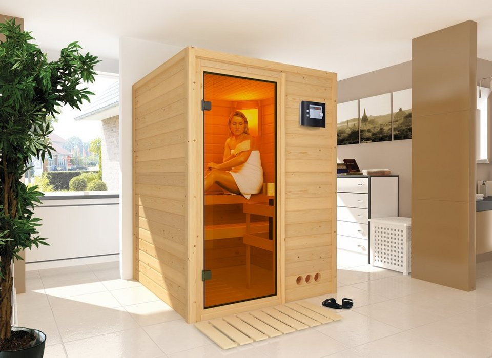 Karibu Sauna »Svenja«, 144/144/198 cm, 38 mm, 3,6-KW-Bio-Kombiofen in natur