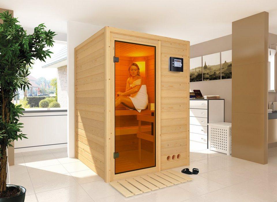 Sauna »Svenja«, 144/144/198 cm, 38 mm, 3,6-KW-Bio-Kombiofen in natur