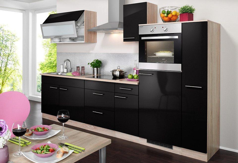Küchenzeile mit E-Geräten »Montana Glanz, Breite 290 cm« in schwarz