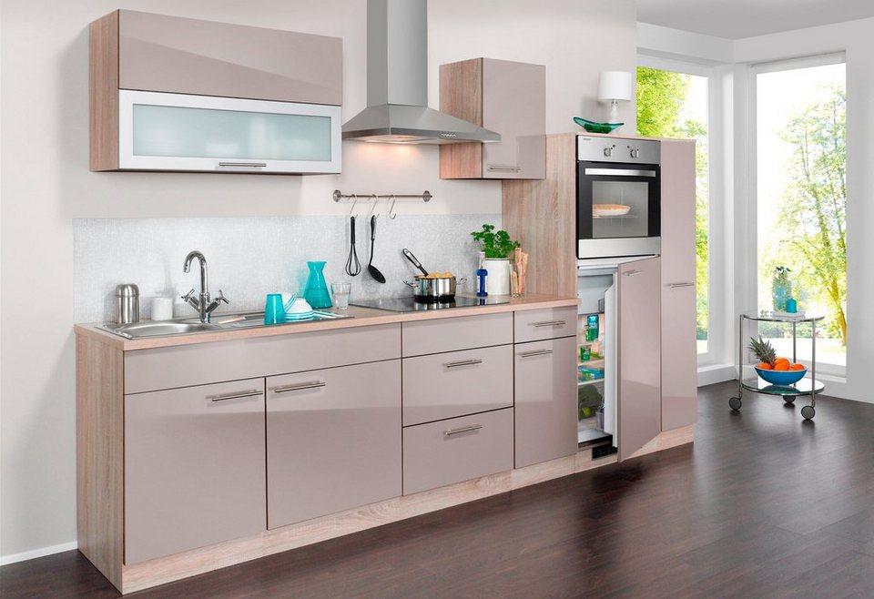Wiho Küchen Küchenzeile mit E-Geräten »Montana Glanz, Breite 290 cm ...
