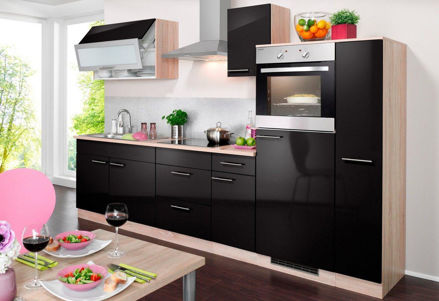 Wiho Küchen Küchenzeile mit E-Geräten »Montana Glanz, Breite 290 cm«