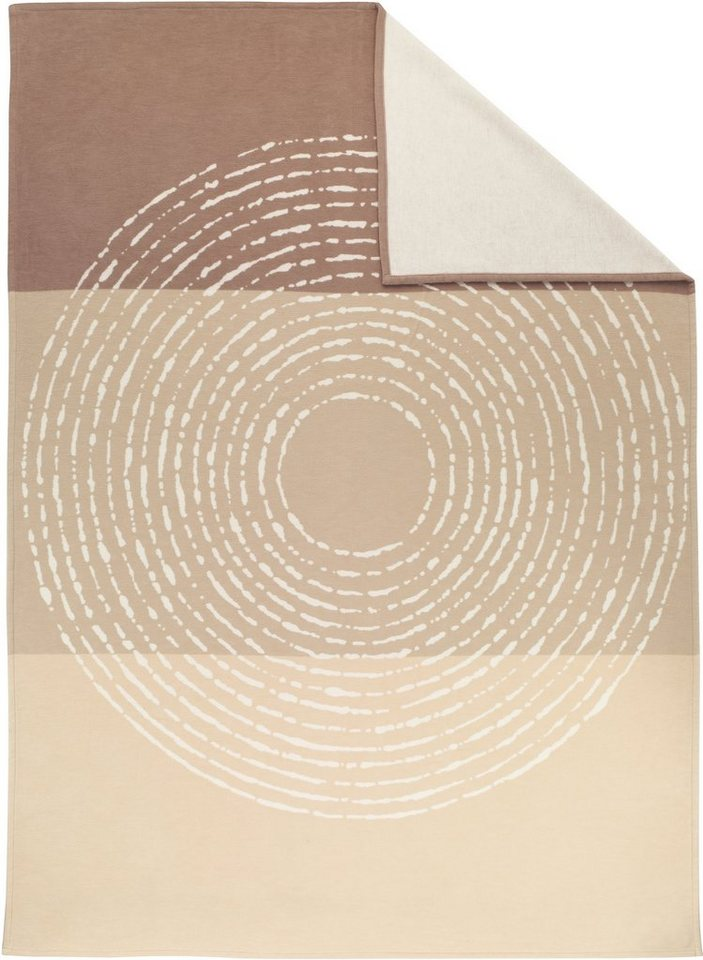 Wohndecke, Ibena, »Cotton Pur Circle«, mit großem Kreis in beige