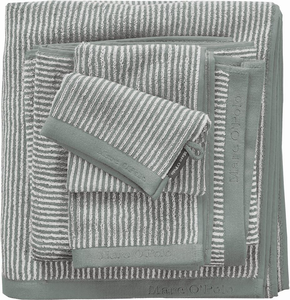 Handtücher, Marc O'Polo Home, »Tone Stripe Timeless«, mit Logostickerei in grün