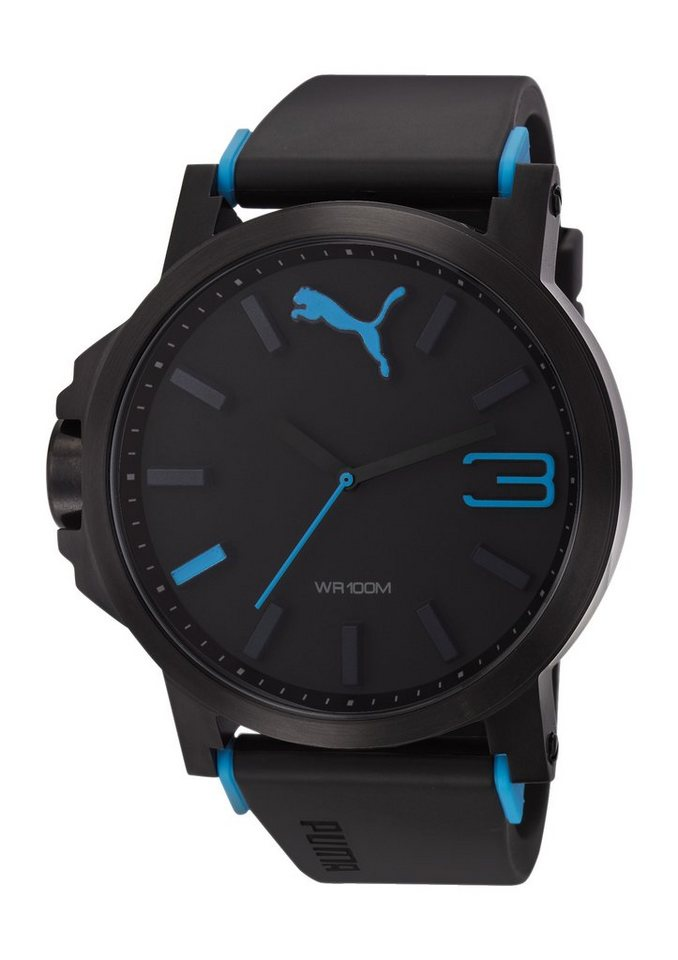 PUMA Quarzuhr »PUMA 10294 ULTRASIZE - Black Blue, PU102941002« in schwarz