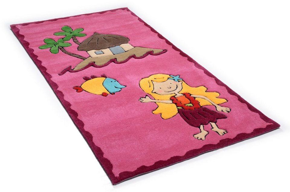 Kinderteppich »Lisa«, Theko, rechteckig, Höhe 14 mm, Hochwertiges Acrylgarn, Handgearbeiteter Reliefschnitt (Carving) in pink