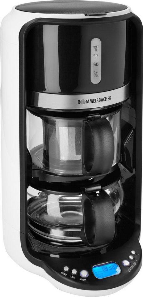 Rommelsbacher Tee Automat TA 1200, Glaskanne für 1 Liter, Startzeitvorwahl, 1200 Watt in weiß/schwarz