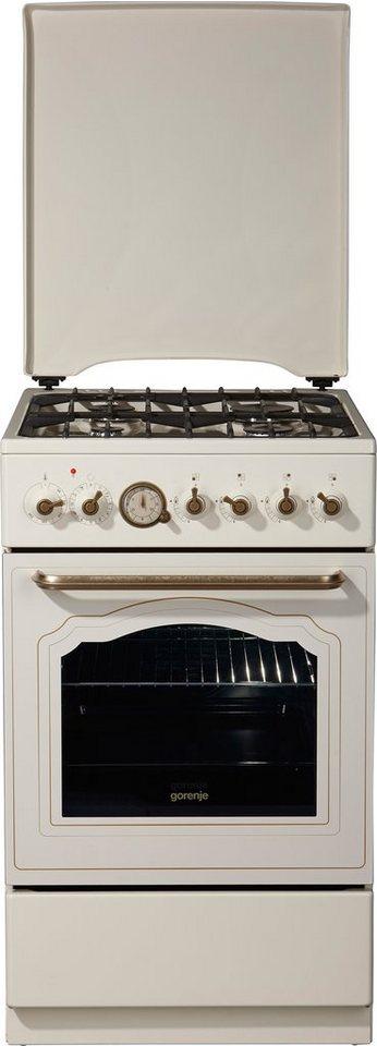 Gorenje Classico Gas-Elektro-Standherd K 57 CLI1, A, 50 cm breit in elfenbein