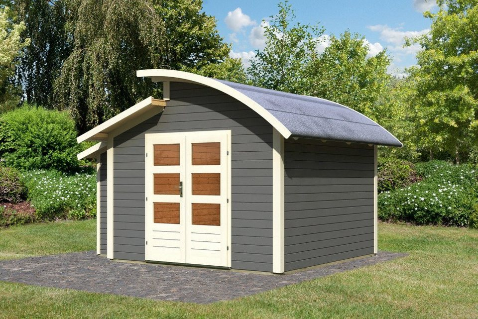Set: Gartenhaus »Almelo«, BxT: 304x304 cm, mit Anbauschrank in terragrau
