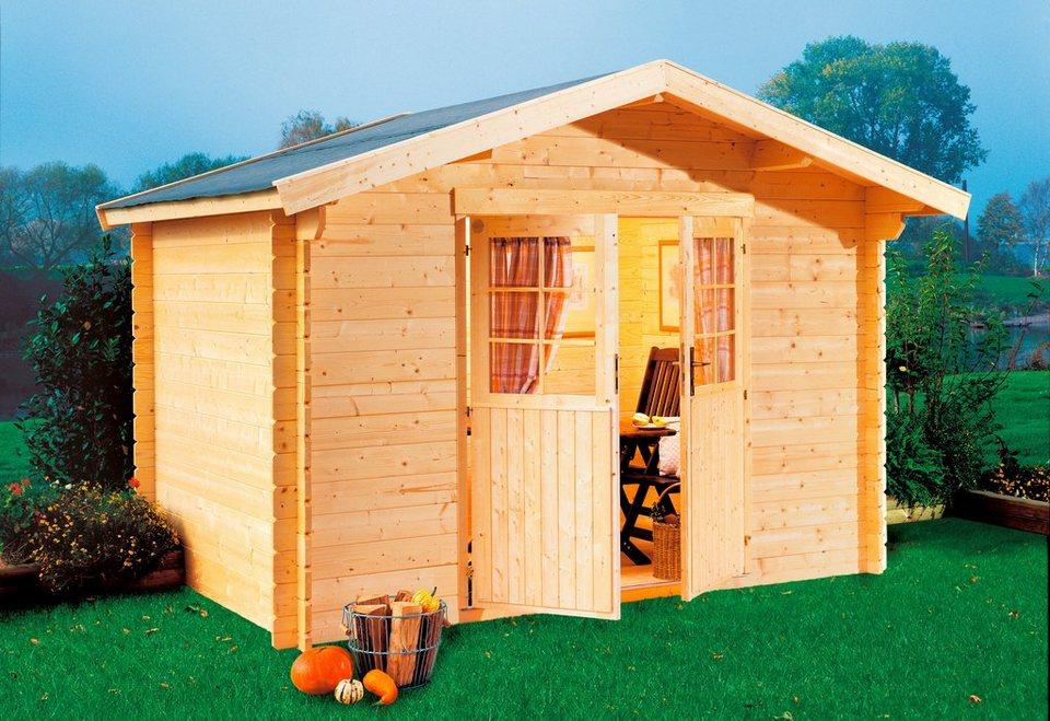 LUOMAN Gartenhaus »Kanada 2/44«, BxT: 300x300 cm, 44 mm, inkl. Aufbau in natur