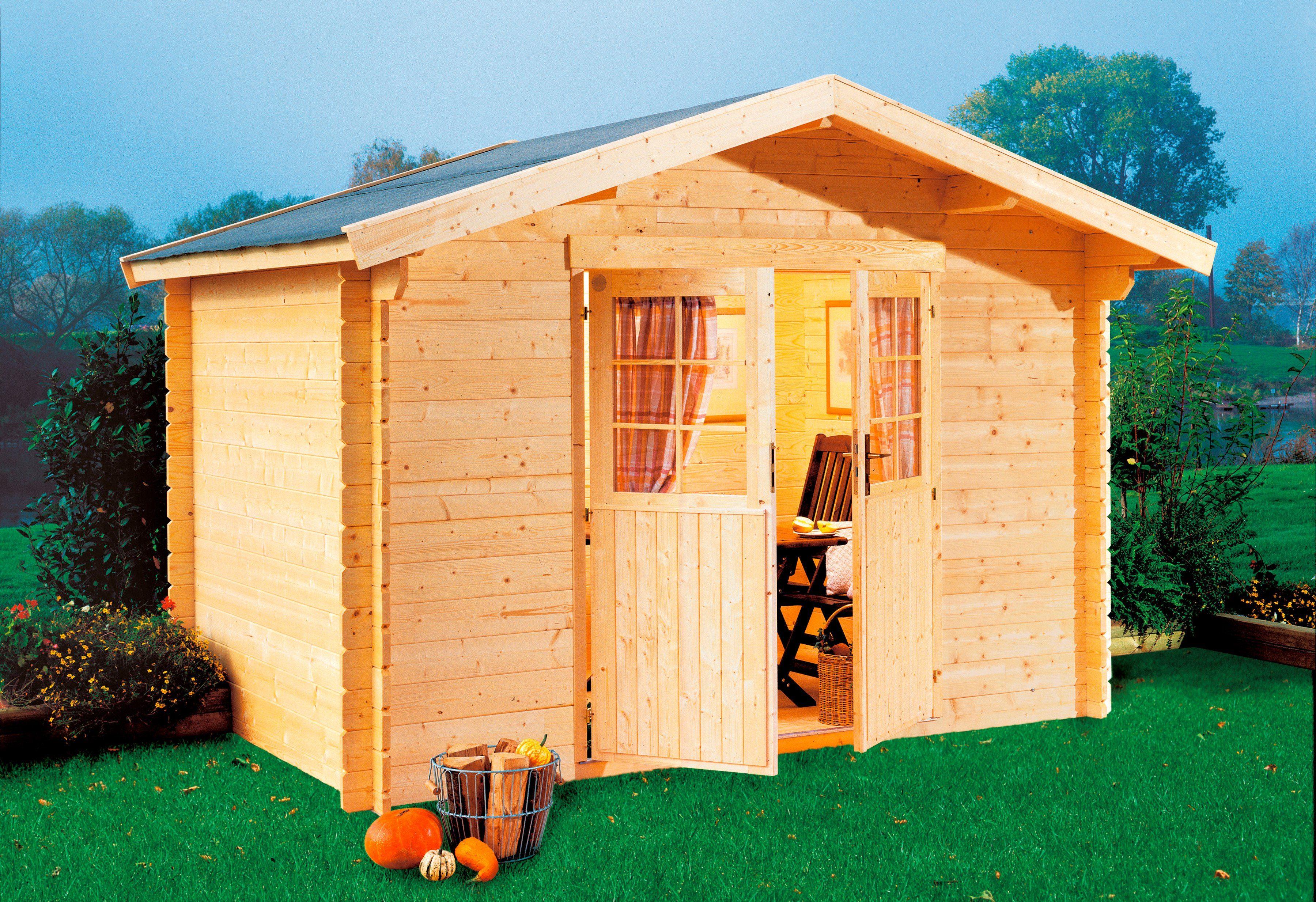 LUOMAN Gartenhaus »Kanada 2/44«, BxT: 300x300 cm, 44 mm, inkl. Aufbau