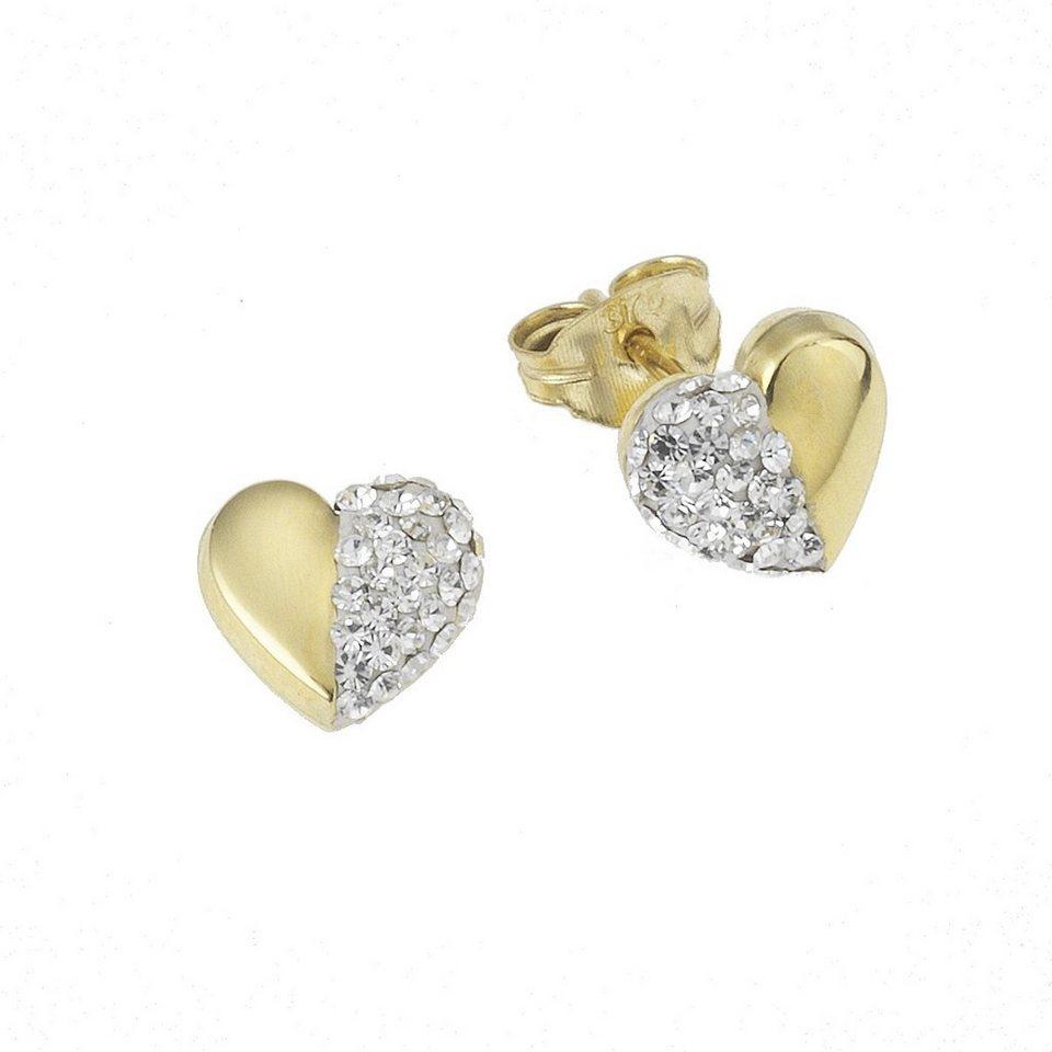 Crystelle Ohrstecker »375/- Gelbgold Swarovski Kristalle« in weiß