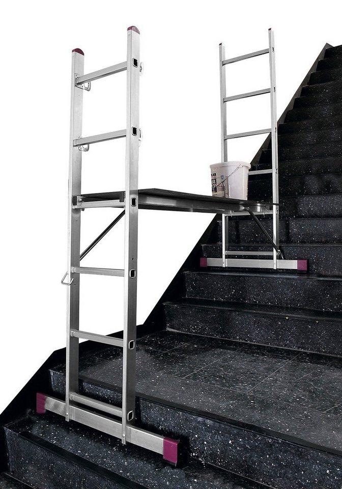 Aluminium-Leiterngerüst »2 x 6 Sprossen« in silberfarben