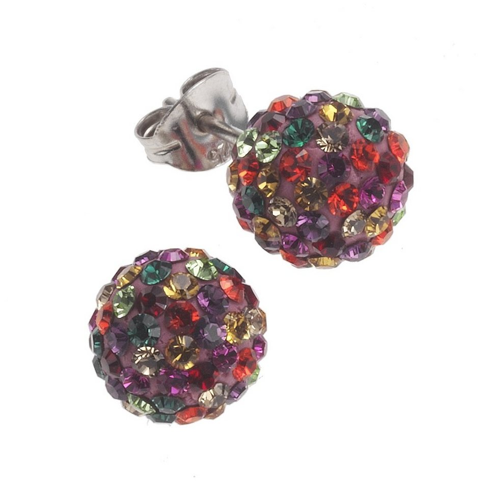 Crystelle Ohrstecker »925/- Sterling Silber Swarovski Kristalle« in mehrfarbig