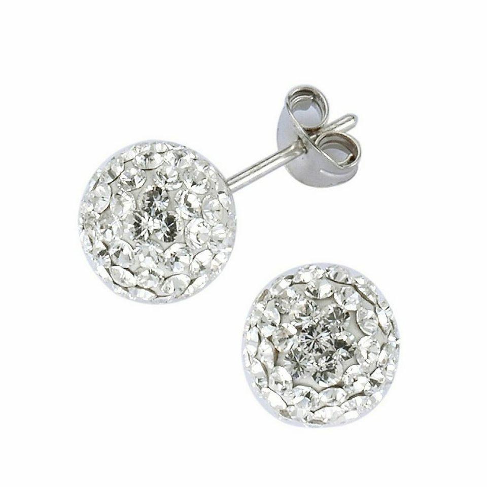 Crystelle Ohrstecker »925/- Sterling Silber Swarovski Kristall« in weiß