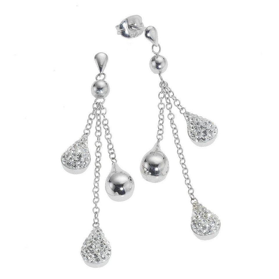 Crystelle Ohrhänger »925/- Sterling Silber Swarovski Kristall« in weiß