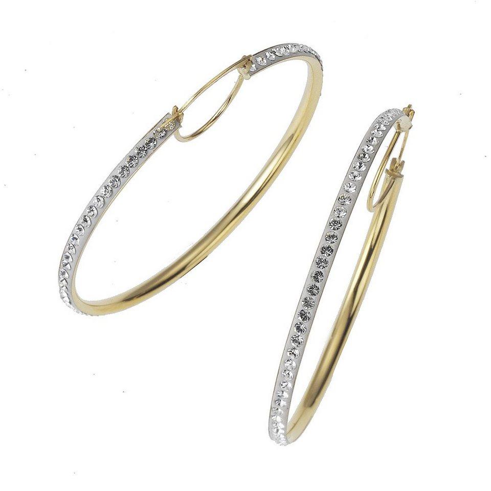 Crystelle Creole »375/- Gold bicolor Swarovski Kristall weiß« in weiß