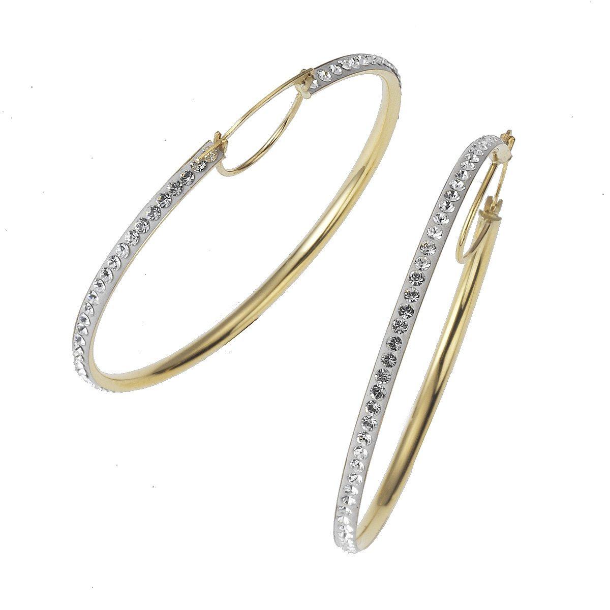 Crystelle Creole »375/- Gold bicolor Swarovski Kristall weiß«