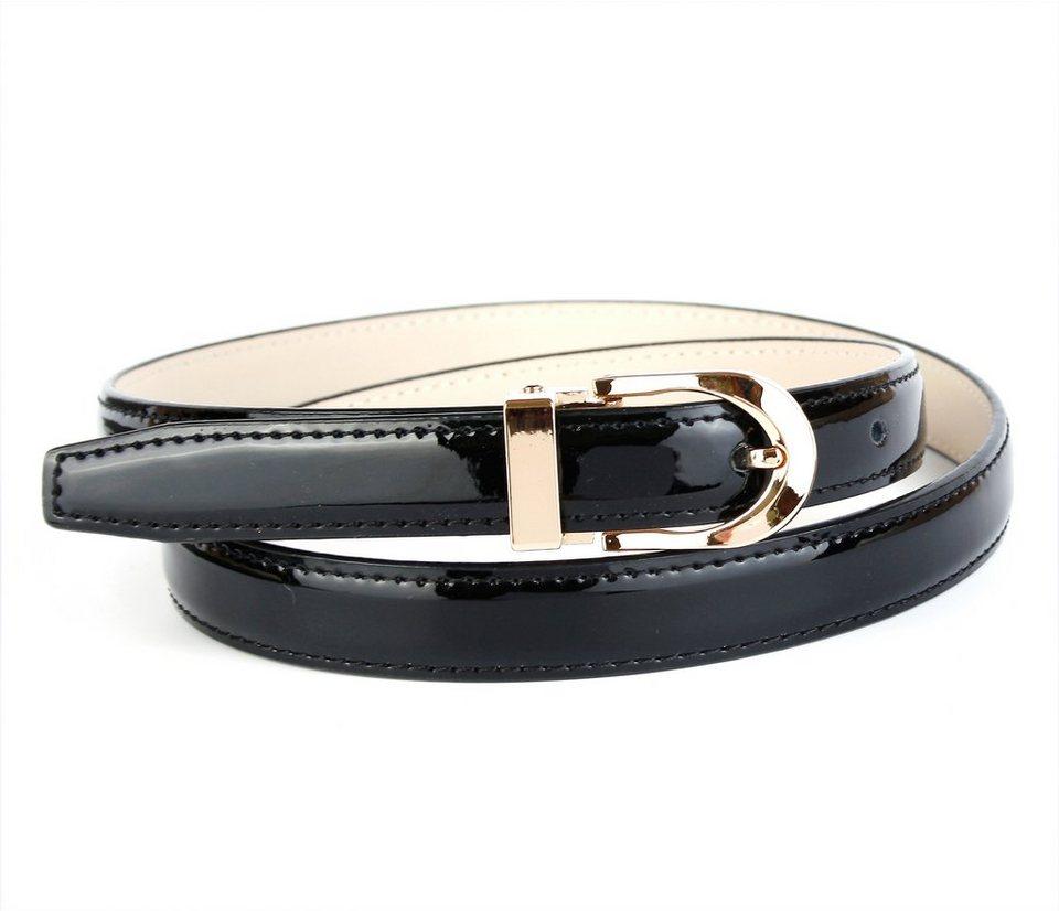 Anthoni Crown eleganter Lackledergürtel in Schwarz