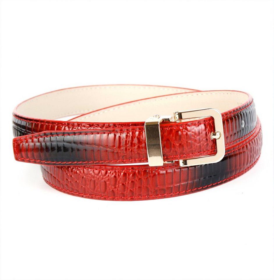 Anthoni Crown Lackledergürtel mit Krokoprägung in Rot