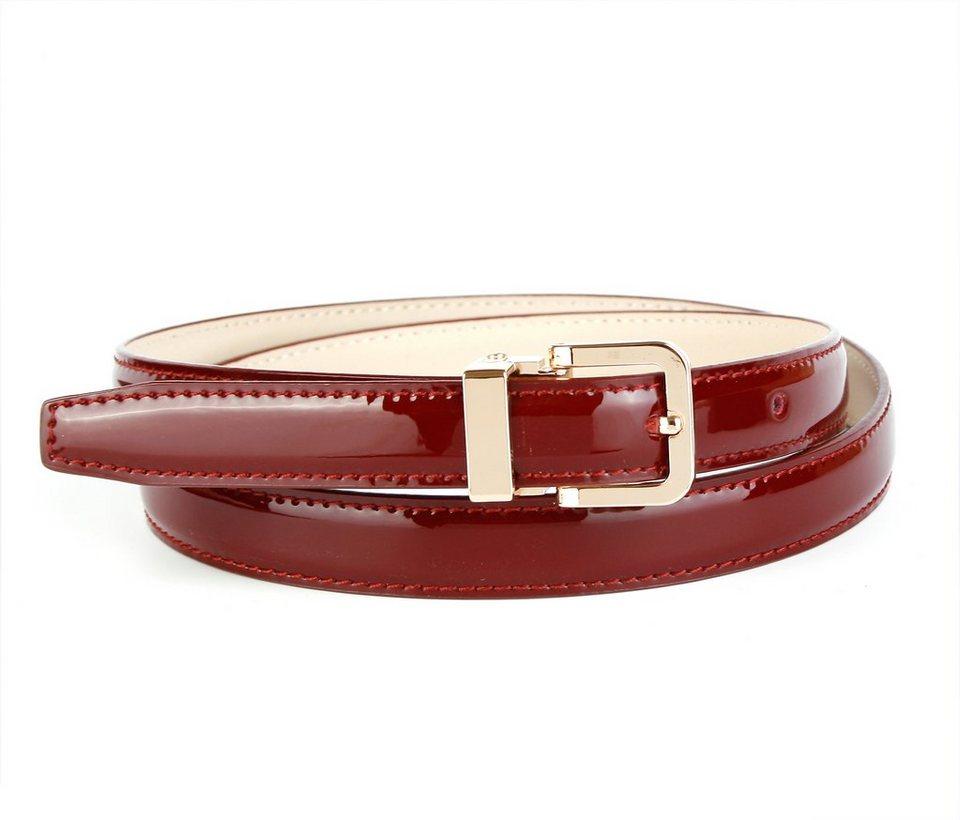 Anthoni Crown Lackledergürtel mit hochwertiger Dornschließe in Weinrot