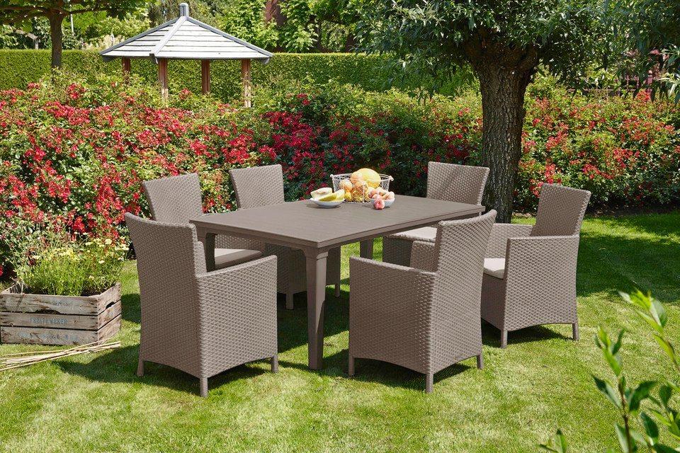 13-tgl. Gartenmöbelset »Napoli«, 6 Sessel, Tisch 165x94 cm, Kunststoff in cappuccinofarben