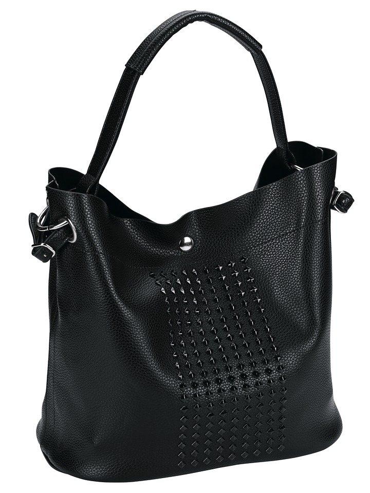 Heine Tasche mit herausnehmbarer Innentasche in schwarz/silberfarben