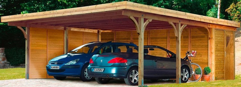 Set: Doppelcarport »Doppelcarport Classic 2«, Stahlplatten-Dacheindeckung, inkl. Abstellraum in braun
