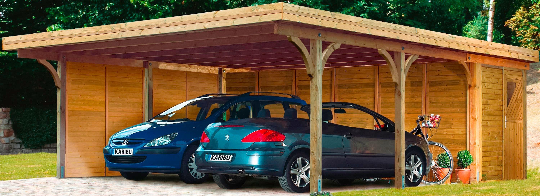 Karibu Set: Doppelcarport »Doppelcarport Classic 2«, Stahlplatten-Dacheindeckung, inkl. Abstellraum