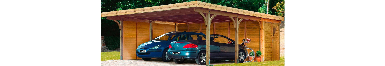 Set: Doppelcarport »Doppelcarport Classic 2«, Stahlplatten-Dacheindeckung, inkl. Abstellraum