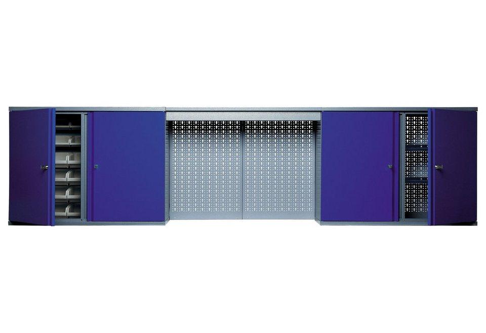 Hängeschrank »mit Lichtblende, 4 Türen, 4 Einlegeböden, 36 Sichtboxen, in ultramarinblau« in blau