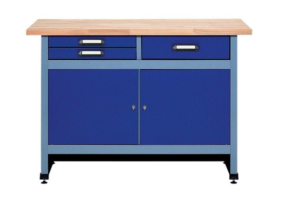 Küpper Werkbank »2 Türen, 3 Schubladen«, ultramarinblau, in verschiedenen Höhen in lila