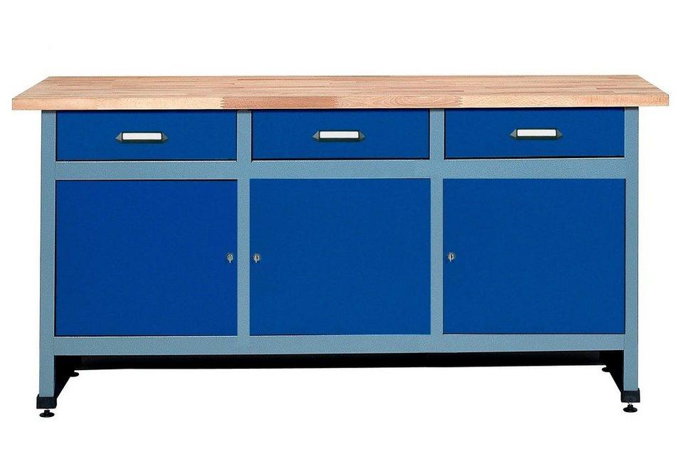 Werkbank »3 Türen, 3 Schubladen«, ultramarinblau, in verschiedenen Höhen in blau